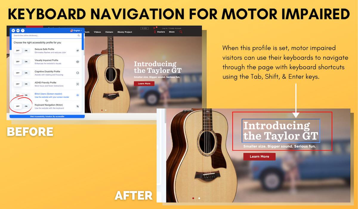 Keyboard Navigation for Motor Impaired