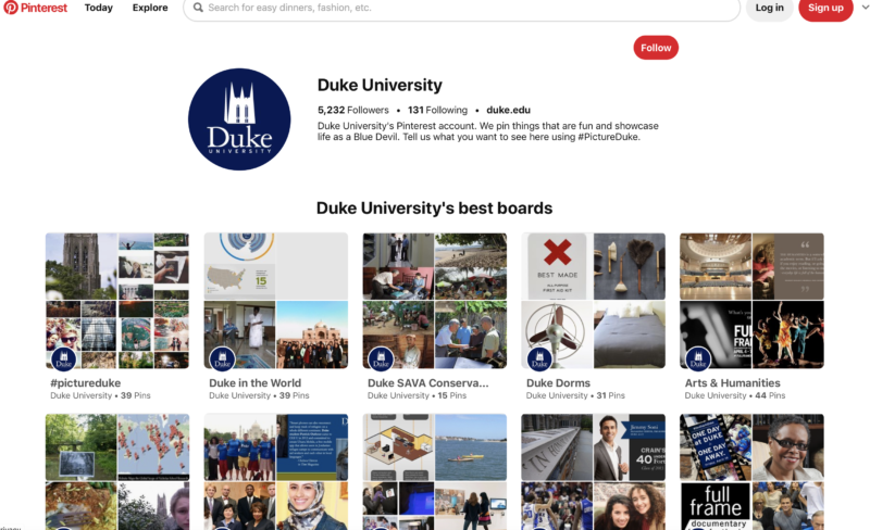 Cuenta de Pinterest de la Universidad de Duke