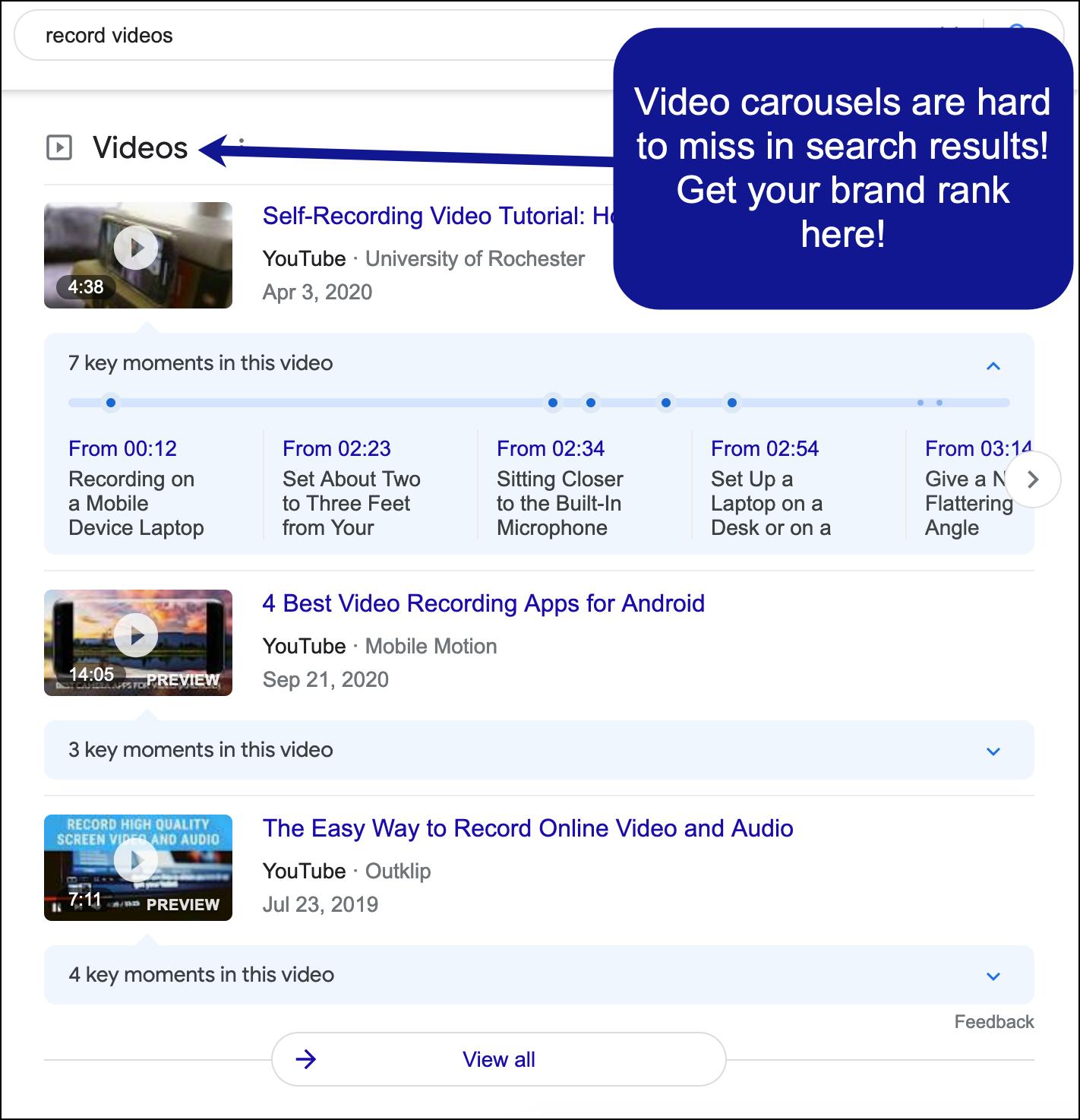 Ejemplo de carruseles de video en los resultados de búsqueda de Google