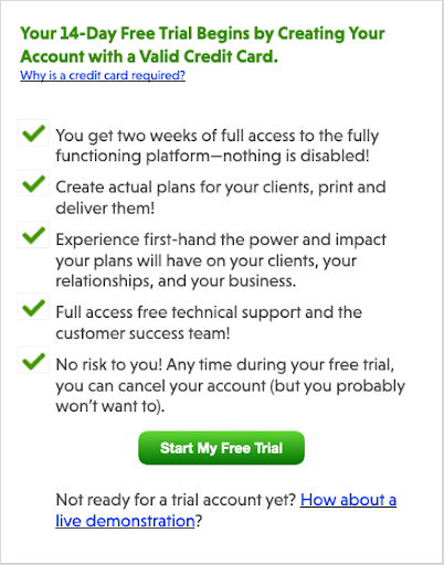 14 day free trial Customer Experience example